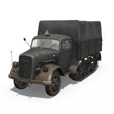 opel truck ww2 opel blitz maultier half truck cargo truck 17 pzdiv 3d model