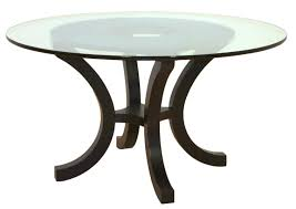 Furniture Round Glass Dining Table Using Black Wooden Curved Base - Round glass top dining room table
