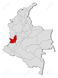 colombia map vector map of colombia with the provinces valle cauca is highlighted