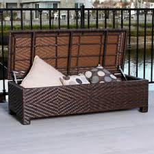 Patio Storage Ottoman Outdoor Patio Furniture Brown Wicker Storage Ottoman Bench