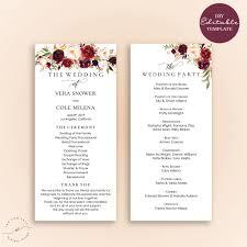 ceremony program templates wedding weddingm exles marvelous image ideas editable