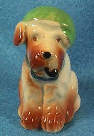 vintage occupied japan miniature terrier with pipe and hat