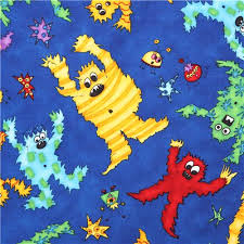 blue monster fabric monster mash quilting treasures halloween
