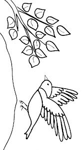 coloriage du petit oiseau et la branche tête à modeler