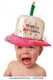baby birthday baby wearing happy birthday hat stock photo 172714988