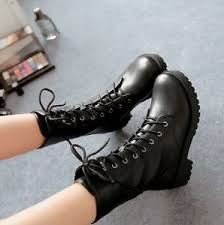 ankle boots uk ebay lace up rivet motorcycle casual shoes combat