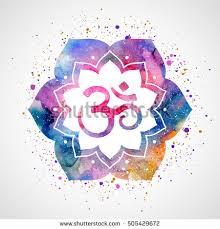 Lotus Flower With Om Symbol - om sign lotus flower pink watercolor stock vector 379962088