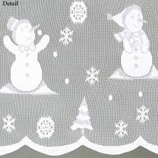 Snowman Curtains Kitchen Snowman Lace Tier Window Treatment
