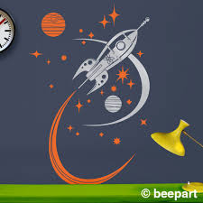 Wall Decals For Boys Room Rocket Ship Wall Decal Mid Century Space Ship Vinyl Art
