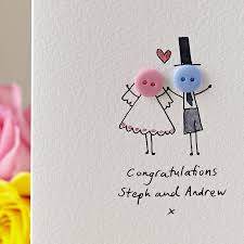 weeding card personalised button wedding handmade card by shelbourne