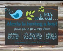 blue bird theme baby shower invitation baby bird theme baby