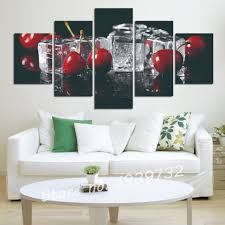 modern kitchen art paintings online shop 5 panels grapes and cherry painting canvas wall art