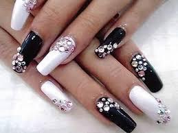 black and white nail designs with diamond nailart nailideas