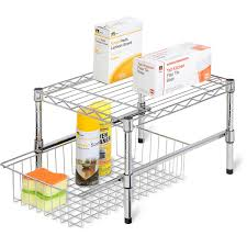 honey can do adjustable shelf with under cabinet organizer chrome