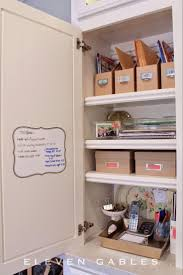 kitchen office organization ideas appliance cabinet and organized desk command center in the