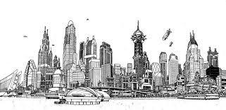 gotham city skyline batman dc comics comic book art by eliot r