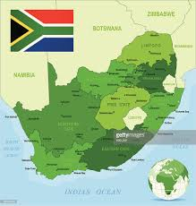 africa map states green map of south africa states cities and flag vector