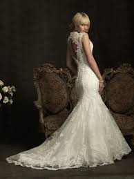 elegant lace mermaid wedding dress ivory lace open back gown by