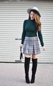 plaid skirt match your plaid skirt with the knee boots reinvent yourself