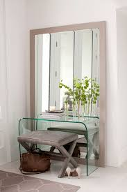 Glass Entry Table Console Table Entryway Entry Contemporary With Leaning Mirror