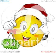 clipart of a cartoon yellow emoji smiley face wearing a christmas