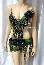 jungle forest tiger monokini bra cosplay dance costume rave bra