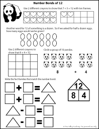 number bonds to 12 free math worksheets learning numbers number