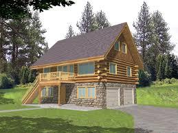 hillside garage plans leverette raised log cabin home plan 088d 0048 house plans and more