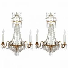 Crystal Wall Sconces by Pair Of Italian Empire Style Brass And Crystal Wall Sconces Kevin