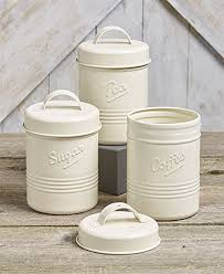 kitchen canisters amazon com vintage set of 3 white metal kitchen canisters made