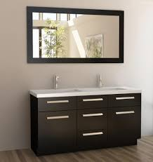 Dark Brown Laminate Flooring Dark Brown Wooden Vanity With Double White Washstand On Laminate