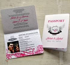 passport wedding invitations save the date wedding passport design fee pink and black rock n