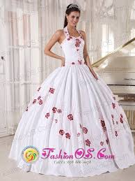 halter top white quinceanera dress taffeta embroidery ball gown