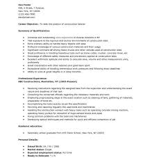 Construction Sample Resume by Super Idea Construction Worker Resume 7 Sample Resume Construction