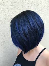 blue black bob using pulp riot hair color by xostylistxo http