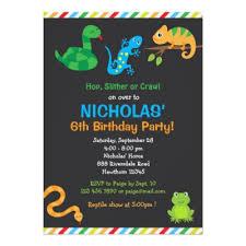 kids reptile birthday party invitation zazzle com