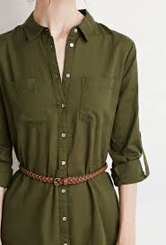 forever 21 belted shirt dress in green lyst