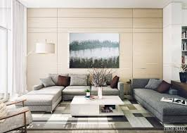 contemporary living room or modern living room with grey sofa and