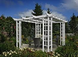 pergola with trellis amazon com 10x10 vinyl trellis pergola patio lawn u0026 garden
