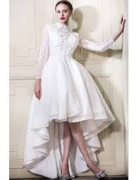 high to low wedding dress lace high low wedding dresses with sleeves a line high neck