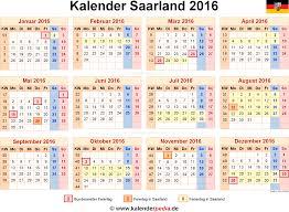 Kalender 2018 Mit Feiertagen Saarland Kalender 2016 Saarland Ferien Feiertage Excel Vorlagen