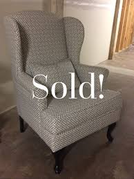 Wingback Chairs For Sale Greek Key Fabric Gray And White Wingback