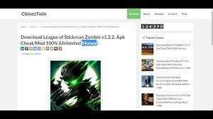 download league of stickman zombie v1 2 2 apk cheat mod 100