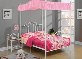 the furniture cove pink twin size canopy bed fabric top