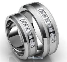 couples wedding bands his tungsten diamond wedding band anniversary ring set 0