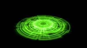 tron hologram portal vortex spin on the ground green color alpha