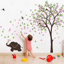 tree with birds and baby elephant sticker by wall