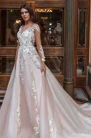 blush wedding dress with sleeves design 2017 wedding dresses haute couture bridal