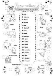 english teaching worksheets farm animals