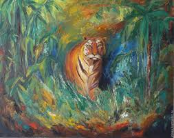 painting master of the jungle the tiger 40 50 cm shop